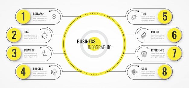 Modello di struttura sottile linea circolare infografica con frecce e 8 opzioni o passaggi.