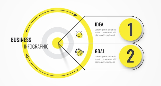 Modello di struttura sottile linea circolare infografica con destinazione e 2 opzioni o passaggi.