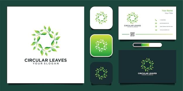 Foglie circolari logo verde design e biglietto da visita vettore premium