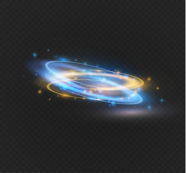 Bagliore circolare effetto luce trasparente. ellisse croce astratta. bagliore rotazionale. energia di potenza. traccia di anello incandescente sullo sfondo.