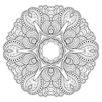 Mandala circolare con fiore. ornamento decorativo in stile etnico orientale. illustrazione di tiraggio della mano di doodle del profilo.