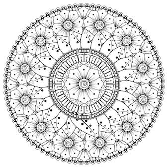 Mandala circolare con fiori, mehndi. ornamento decorativo in stile etnico orientale. pagina del libro da colorare.