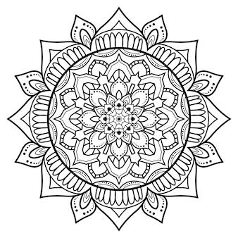Profilo di mandala ornamentale floreale bianco e nero modello circolare per pagine del libro da colorare