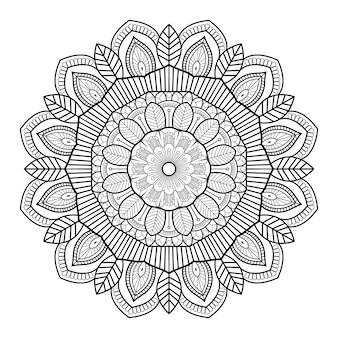 Profilo di mandala ornamentale floreale bianco e nero modello circolare per pagine del libro da colorare Vettore Premium