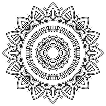 Modello circolare a forma di mandala. ornamento cornice decorativa in stile etnico orientale.