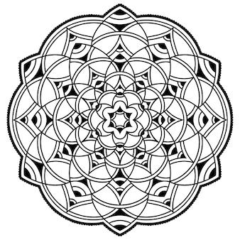Modello circolare a forma di mandala. ornamento decorativo in stile etnico orientale. illustrazione di tiraggio della mano di doodle del profilo.