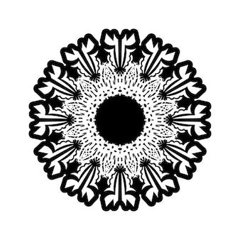 Modello circolare a forma di mandala per henné, mehndi, tatuaggio, decorazione. ornamento decorativo in stile etnico orientale. pagina del libro da colorare.