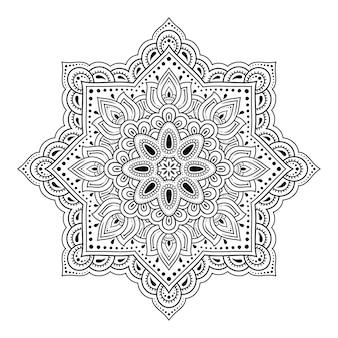 Modello circolare in forma di mandala per henné, mehndi, tatuaggio, decorazione.