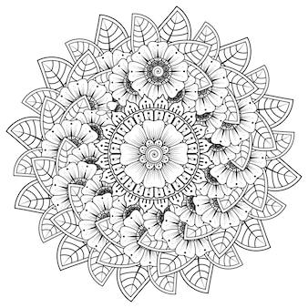 Modello circolare sotto forma di mandala. henné tatoo mandala. stile mehndi. motivo decorativo in stile orientale. pagina del libro da colorare.