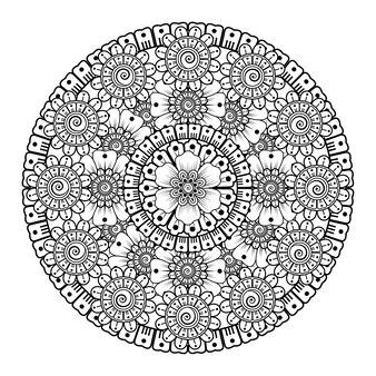 Modello circolare sotto forma di mandala con fiore. ornamento decorativo nella pagina da colorare in stile etnico orientale