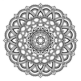 Modello circolare a forma di mandala con fiore. ornamento decorativo in stile etnico orientale. illustrazione di tiraggio della mano di doodle del profilo.