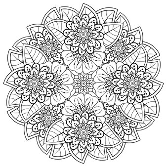 Modello circolare sotto forma di mandala con fiore per henné, mehndi, decorazione. ornamento decorativo in stile etnico orientale. pagina del libro da colorare.