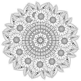Modello circolare sotto forma di mandala con fiore per henné, mehndi, tatuaggio, decorazione. ornamento decorativo in stile etnico orientale. pagina del libro da colorare.