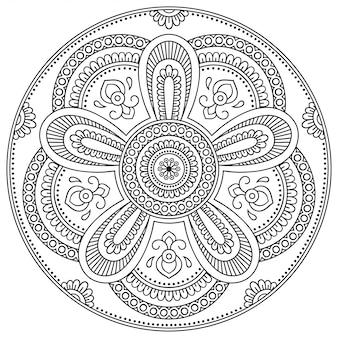 Modello circolare a forma di mandala con fiore per henné, mehndi, tatuaggio, decorazione. ornamento decorativo in stile etnico orientale.