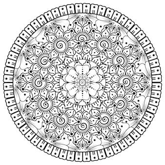 Motivo circolare a forma di mandala con fiore per la decorazione del tatuaggio mehndi all'henné