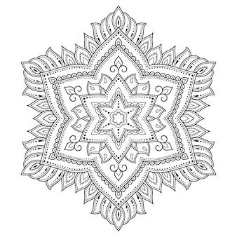 Modello circolare a forma di mandala con illustrazione di fiori