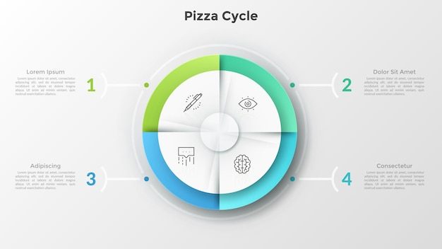 Grafico a torta circolare diviso in 4 parti uguali con icone a linee sottili all'interno collegate a caselle di testo numerate. concetto di diagramma del ciclo della pizza. modello di progettazione infografica moderna.