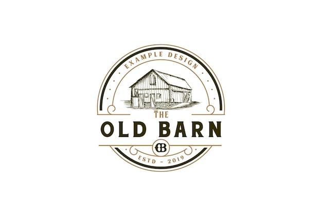 Vecchio fienile rustico rotondo circolare per fattoria ranch logo design vector
