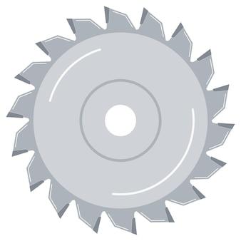 Disco della lama per sega circolare per legno, icona di vettore di design piatto di lavoro in metallo isolato su priorità bassa bianca.