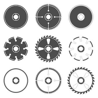 Set di icone di lame per seghe circolari isolato su uno sfondo bianco.