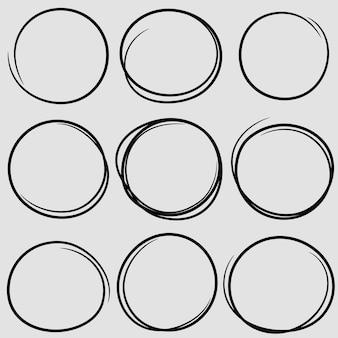 Scribble circolare scarabocchio cerchi rotondi per elemento di design segno nota messaggio