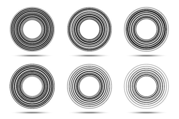 Set di frame di linee a strisce circolari sfondo di linee di cerchio elemento di design del logo bordo rotondo con strisce