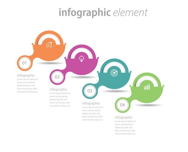 Timeline circolare passaggi infografica modello di progettazione