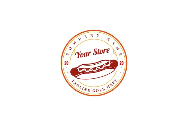 Circolare vintage retro hot dog salsiccia etichetta logo design vector