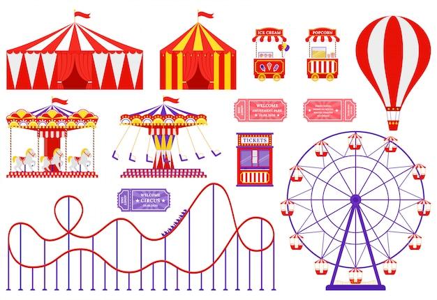 Circo, parco di divertimenti, set fiera di carnevale. illustrazione. design piatto.