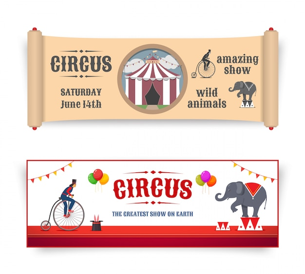 Banner del circo con illustrazioni in stile retrò e piatto. vettore