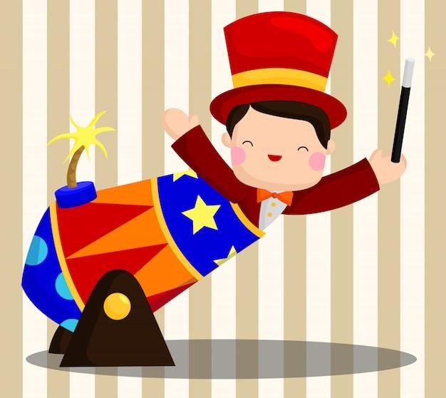 Circo ragazzo con bacchetta magica