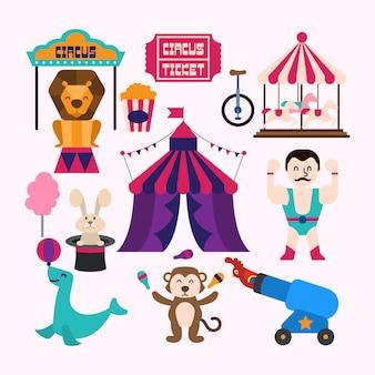 Circo carnevale elementi grafici