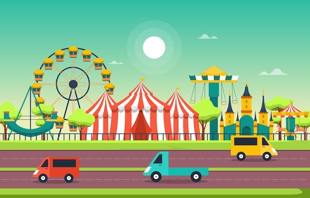 Illustrazione felice di festa del parco di divertimenti della ruota panoramica del circo