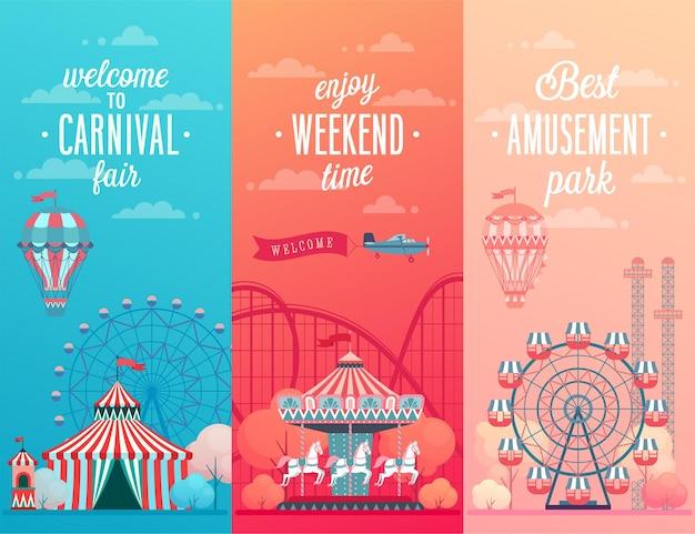 Illustrazione di tema di carnevale e fiera del divertimento del circo
