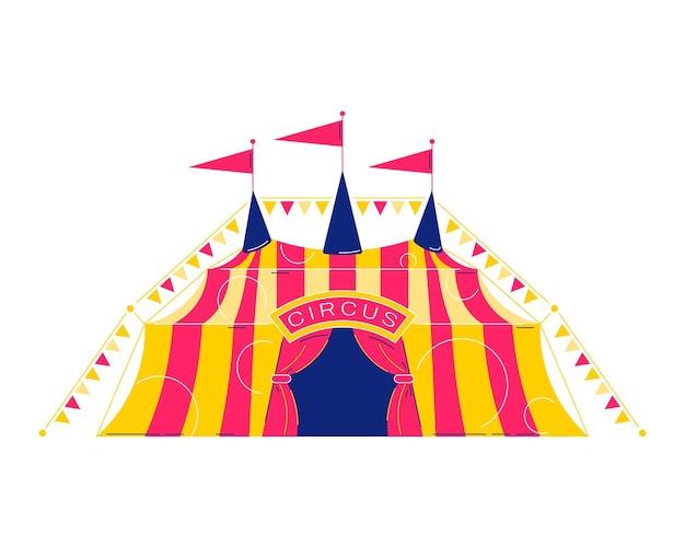 Composizione nel luna park del circo con l'immagine isolata del tendone classico del circo