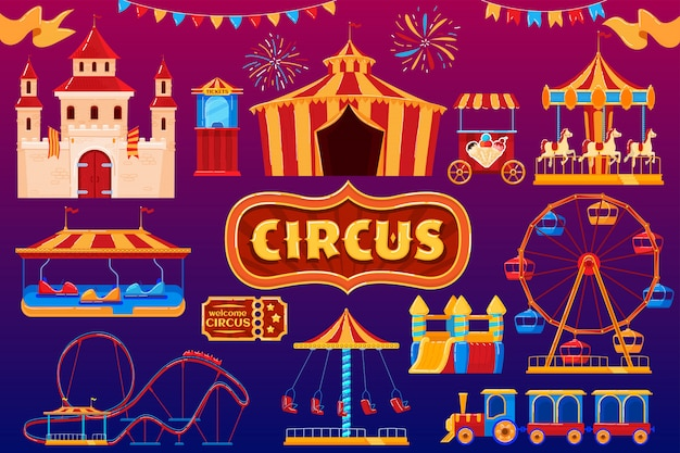Icone del circo, carnevale del parco di divertimenti, insieme di festival della zona fieristica, illustrazione