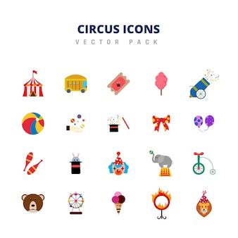 Pacchetto di icone di circo Vettore Premium