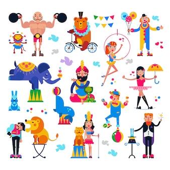 La gente del circo vector acrobata o pagliaccio e personaggi di animali addestrati in set di illustrazione tenda da circo del mago e del circo con leone o elefante isolato su bianco