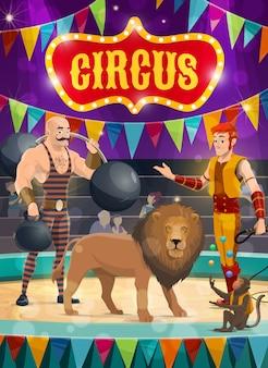 Artisti di poster di circo uomo forte, domatore