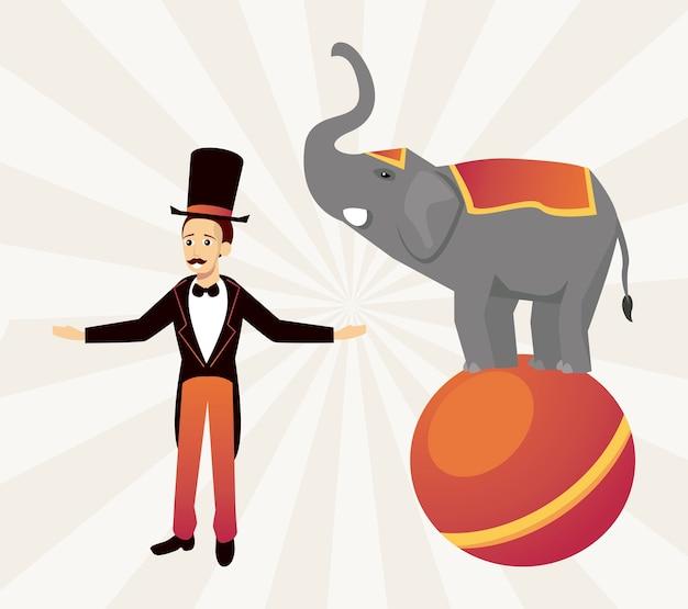 Direttore di circo del circo con elefante nell'illustrazione del carattere del pallone