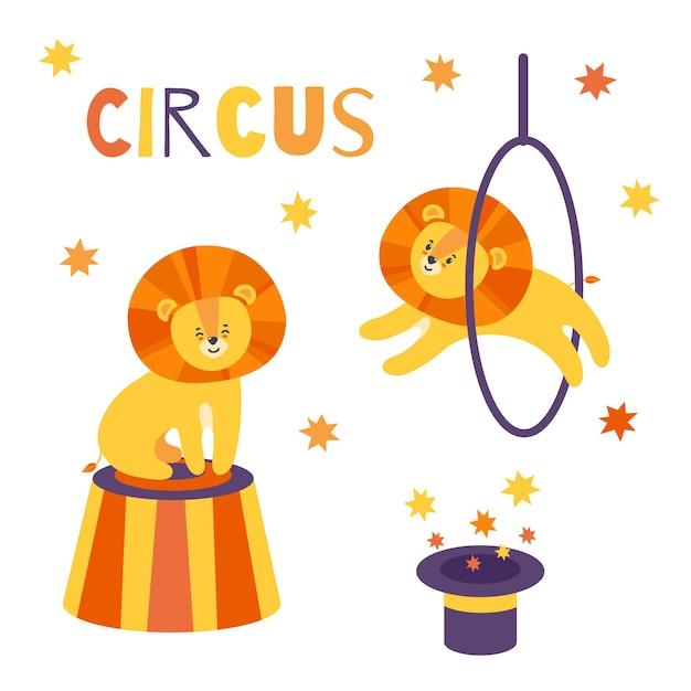 Circo ambientato con adorabili leoni cappello magico stelle animali che eseguono trucchi speciali
