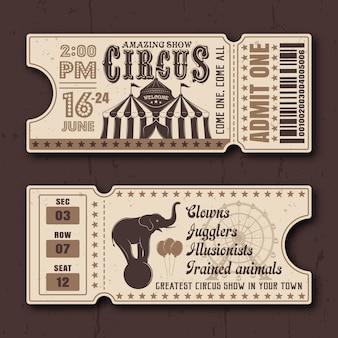 Circo mostra i biglietti orizzontali davanti e dietro i modelli vettoriali di lato in stile vintage