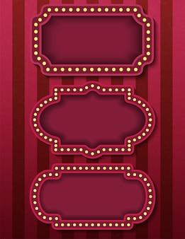 Insegne del circo. insegne al neon del cinema retrò brillantemente incandescente. spettacolo serale in stile circo.