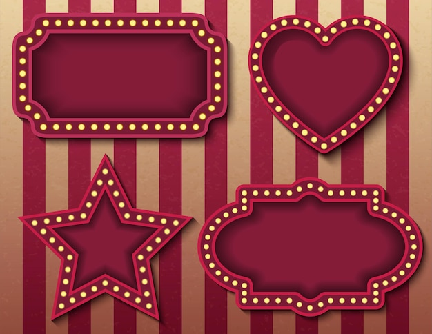 Insegne del circo. vector stock brillantemente incandescente retrò cinema insegne al neon banner. modelli di banner per spettacoli serali in stile carnevale. immagini vettoriali di sfondo