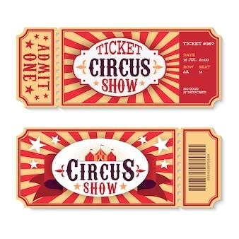 Biglietti del circo. biglietto cartaceo vintage d'ingresso allo spettacolo di magia, buoni per eventi divertenti del festival. modello di carta festa di compleanno