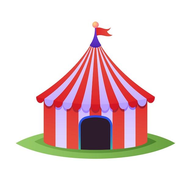 Tenda da circo per carnevale con strisce rosse, tendone vintage a cupola per spettacoli e spettacoli