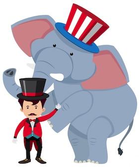 Istruttore di circo e elefante selvaggio