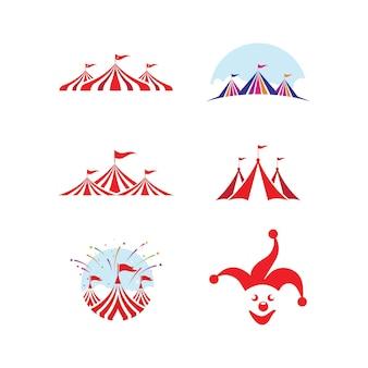 Modello degli emblemi del logo di progettazione dell'illustrazione di vettore del circo