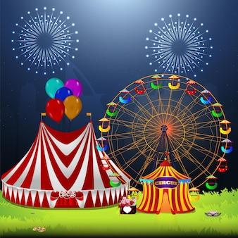 Carnevale vintage di circo con ruota panoramica e tendone da circo