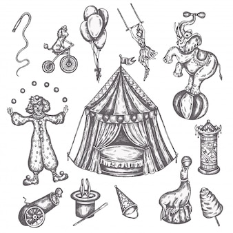 Set di icone vintage circo. schizzo disegnato a mano di animali e divertimento illustrazioni vettoriali di performens
